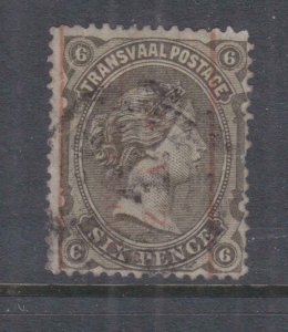 TRANSVAAL, 1885 TWEE PENCE on 6d. Black Brown, used, short perf. at right.