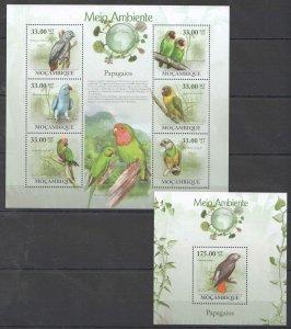 BC1310 2010 MOZAMBIQUE FAUNA ENVIRONMENT BIRDS PARROTS PAPAGAIOS 1KB+1BL MNH