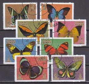 Ajman, Mi Cat. 747-754 A. Butterflies issue. Canceled. ^