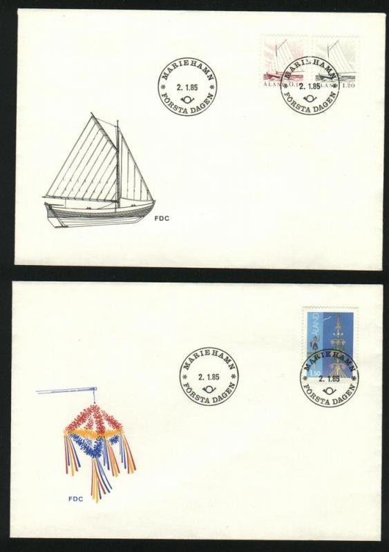 Aland. 2 FDC Cachet 1985. Fishing Boats and Midsummer Pole