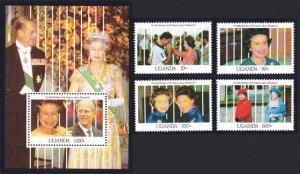 Uganda 65th Birthday of Queen Elizabeth II 4v+MS SG#960-MS964