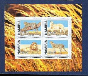 NAMIBIA - Scott 881a - FVF MNH S/S - Cat, Lion, Leopard - 1998