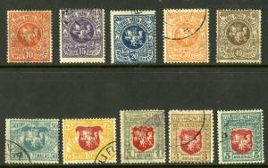 LITHUANIA 30-39 USED SCV $4.80 BIN $1.95 COATS OF ARMS