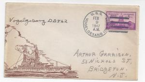Naval Cover 1947 USS Vogelgesang DD 862 Cacheted