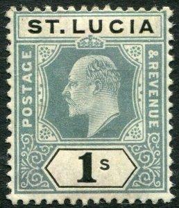 ST LUCIA-1905 1/- Green & Black Sg 74 MOUNTED MINT V33908