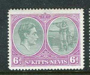 ST. KITTS; 1938 early GVI issue fine Mint hinged Shade of 6d. Perf 14 value