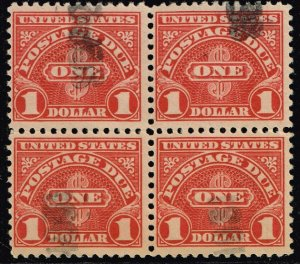 US STAMP BOB #J87 $1 Postage Due Stamp 1956 USED BLK OF 4