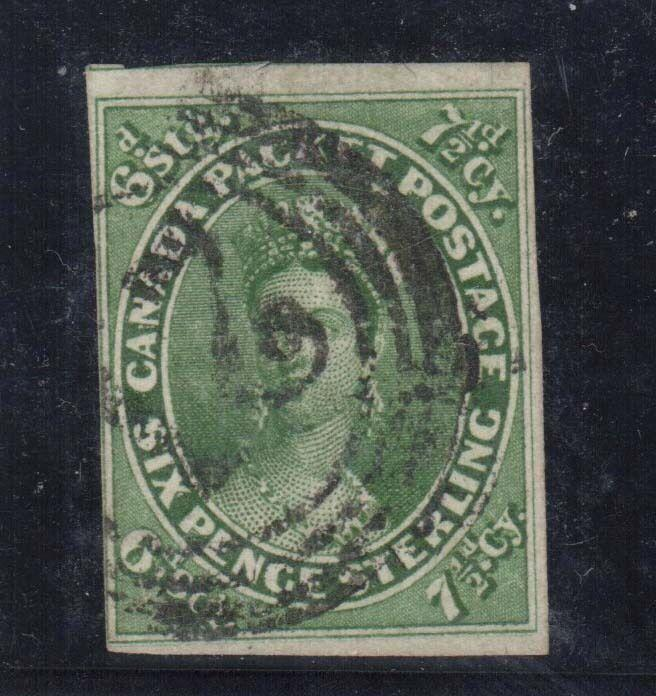 Canada #9 VF Used With Four Margins **With Certificate**