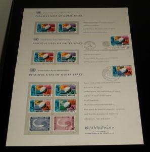 U.N.#SC7, 1975 PEACEFUL USES OF SPACE SET OF 3 SOUVENIR CARDS, NICE!!