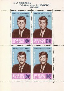 Niger - 1964 President John F. Kennedy - 4 Stamp Souvenir Sheet - Scott #C44a