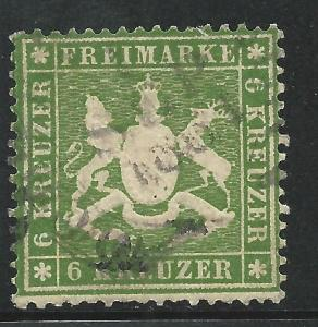 German States Wurttemburg Scott #21 Used Stamp