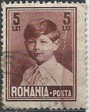 Romania 326 (used, creased) 5 lei King Michael, red brown (1928)