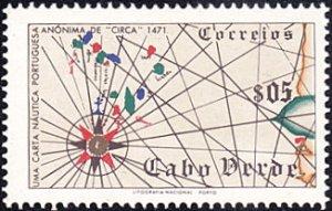 Cape Verde # 277 hinged ~ 5¢ Mape of Cape Verde Islands