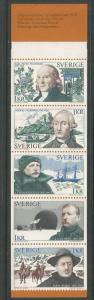 SWEDEN  1009A  MNH,  BKLT PANE OF 5,  SWEDISH EXPLORERS
