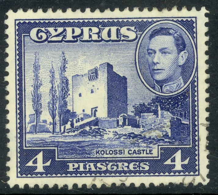 CYPRUS 1951 KGVI 4pi KOLOSSI CASTLE Scott No. 166 F-VF Used