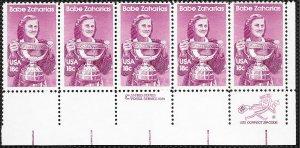 US #1932 MNH Zip Code strip of 5.  Babe Zaharias.