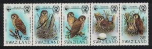 Swaziland WWF Pel's Fishing Owl Birds strip of 5v SG#399-403