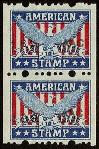 American Stamp Red, White and Blue W/Eagle Cinderella