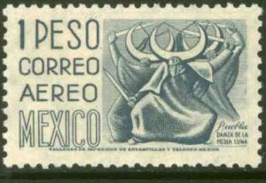MEXICO C195 $1Peso 1950 Definitive 1st Printing wmk 279 MINT, NH. VF.