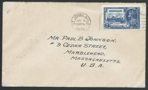 NEWFOUNDLAND 1935 7c Jubilee on cover - first day cancel...................53077