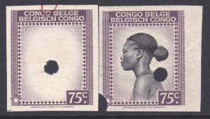 BELGIAN CONGO Waterlow proof 75c imperf vignette & complete stamp...........7921
