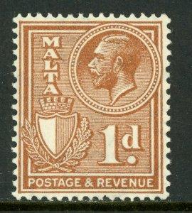 Malta 1930 KGV 1p Brown Scott 169  Mint A138 ⭐⭐⭐