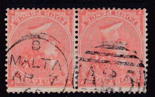 Great Britain 1865 QV Nr.43 4d ver. PAIR Plate-11 Malta A25 duplex cancel VF