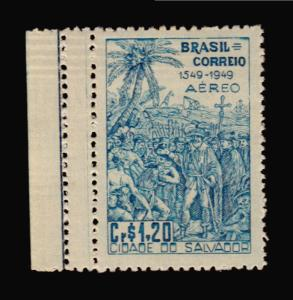 NATIVES INDIANS PALM TREE CATAPULT BRAZIL MNH STAMP DOUBLE PERFORATION VARIETY