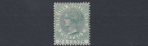 STRAITS  SETTLEMENTS 1883 - 91 SG 68  24C YELLOW GREEN MINT HINGED CAT £85