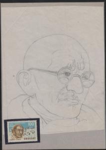 O)1969 URUGUAY,ORIGINAL ART WORK DESIGNES,MAHATMA GANDHI, SCOTT AP73, UNESCO,  P
