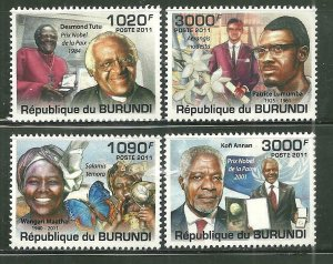 Burundi MNH 991-4 Famous Africans 2011 SCV 15.00