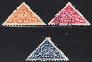 Costa Rica Scott 158, 160-61 F to VF mint & used.