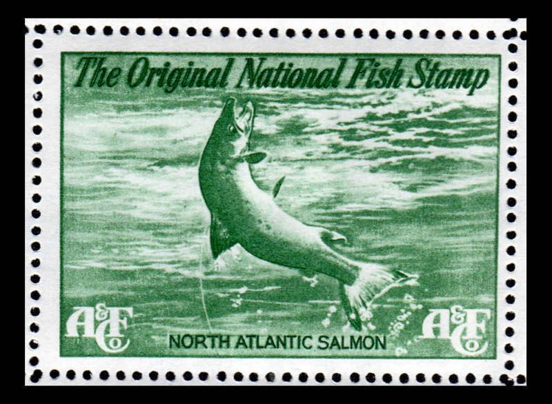 National Fish Stamp Green Salmon Abercrombie & Fitch Environment Contribution (2