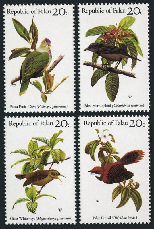 Palau 5-8 separated,MNH.Michel 5-8. Birds 1983.Dove,Morning,Fantail.