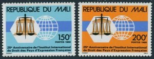 Mali 563-564,MNH.Michel 1123-1124. Law Institute,French-speaking Nations,1989.