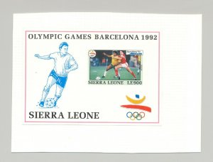 Sierra Leone #1519 Olympics, Soccer 1v S/S Imperf Proof on Card