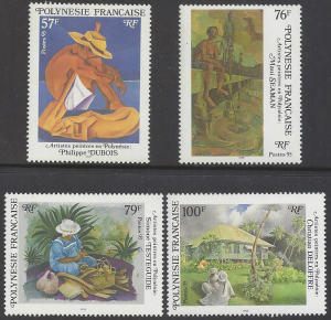 French Polynesia #404-07, MNH set, various paintings, Issued 1984