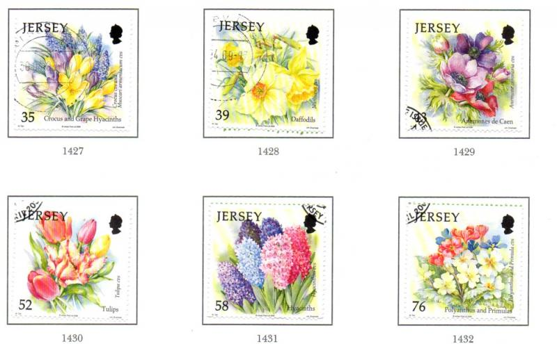 Jersey Sc 1367-72 2009 Spring Flowers stamp set used