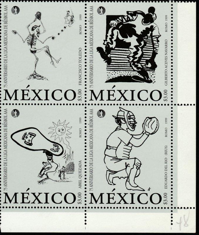 MEXICO 2146, Mexican Baseball League, 75th Anniv. BLOCK OF FOUR. MINT, NH. VF.