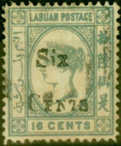 Labuan 1892 6c on 16c Grey SG50 Fine Used