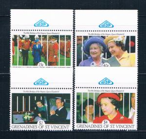 St Vincent - Grenadines 770-71;774-75 MNH Queens 65th Birthday 1991 (S0913)