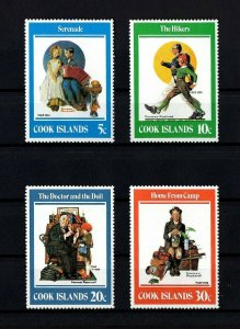 COOK ISLANDS - 1982 - NORMAN ROCKWELL - SERENADE - THE DOCTOR ++ 4 X MINT SET!