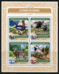 TOGO 2016  FAUNA OF THE WORLD OFFICIAL  BIRD OR ANIMAL  CONGO, HONDURAS ETC SHT