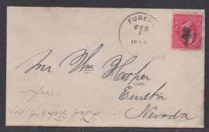 **US 19th Century Cover Scott #279b, Eurka, NV, 2/1/1897 To Eurka, NV