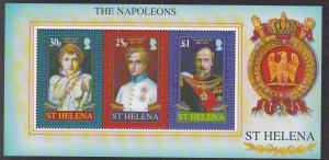 St. Helena # 916a, The Napoleans, Souvenir Sheet, NH, 1/2 Cat.