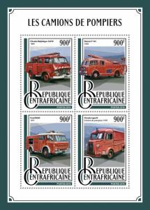Central African Rep Fire Engines Stamps 2016 MNH Trucks Ford D600 Dennis 4v M/S