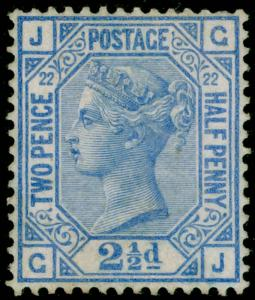 SG157, 2½d blue PLATE 22, LH MINT. Cat £425. GJ
