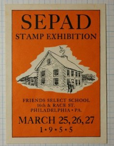 SEPAD Stamp Expo Friends Select School Philadelphia PA 1955 Philatelic Souvenir