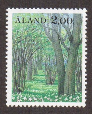 Aland islands  #14  MNH  1985  definitive set  2m  landscapes  grove of ashes