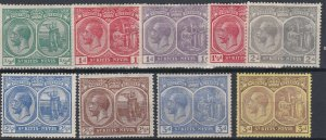 ST KITTS  1921 - 29  S G 37 - 45A  VARIOUS VALUES TO 3D  MH